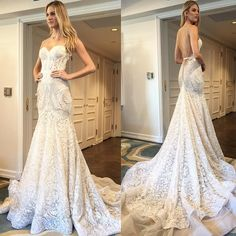 """Say I Do in style ""15-110"" spaghetti straps handcrafted intricate lace mermaid gown with a sweetheart neckline featuring a low V-shaped open back and…"""