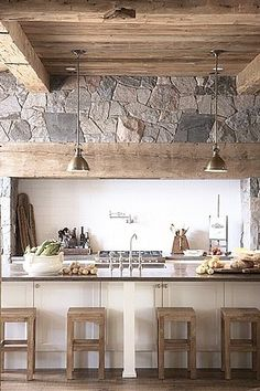 This kitchen has a cottage feel to it but also seems modern at the same time.
