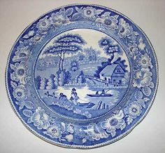 "Antique 19th century British pottery blue transferware, Staffordshire ""Wild Rose"""