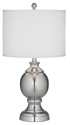 Sphere and Pedestal Brushed Steel Table Lamp | LampsPlus.com