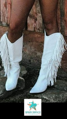 The Sinatra's White Fringe Boots – Baha Ranch Western Wear Cowgirl Costume, Cowgirl Outfits, Cowgirl Style, Western Outfits, Western Wear, Country Outfits, Western Style, Country Style, Cowgirl Bachelorette Parties