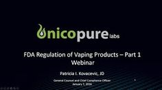 Nicopure's General Counsel Patricia Kovacevic covers the basics of the FDA's new e-cigarette regulations, which will have an impact on the vaping industry. Halo Videos, General Counsel, Latest Video, Vaping, Counseling, Cover, Youtube, Electronic Cigarette, Therapy