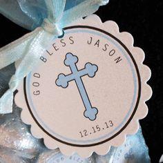 Personalized Baptism Christening Communion Favor Tags, blue cross, set of 30 Christening Favors, Boy Christening, Baptism Favors, Baby Baptism, Baptism Party, Baptism Ideas, Dedication Ideas, Baby Dedication, Baptism Decorations