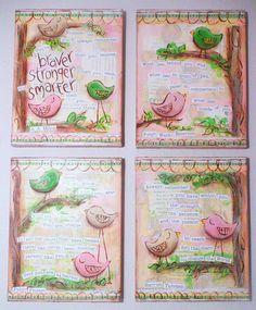 Inspirational Art, Set of 4 Inspirational Birds in pink, 8 x 10 Fine Art Prints via Etsy Art Journal Pages, Art Pages, Art Journals, Bird Quotes, Bird Sayings, Art Trading Cards, Country Paintings, Pink Bird, Diy Canvas Art