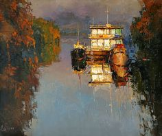 Evening on the river. 70 x 60 cm, oil on canvas. Alexi Zaitsev