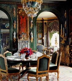 Gorgeous dining, the green in the room is great (1) From: Rococo Revisited, please visit