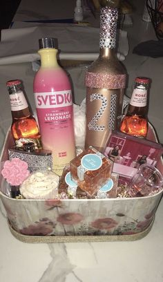 Gift Birthday Gift Basket 21 birthday basket 21 birthday basket IG Juicy Couture Perfume SetPillowCandyChampagne your choiceSlippersBody washMani pedi kitLoofahVictoria Secret PantiesCandle decorative wine glassBath bombsMini travel bagCo. Plenty of foo Mom Birthday Gift, 21st Birthday Gifts For Best Friends, 21st Birthday Presents, 21st Birthday Decorations, Birthday Gift Baskets, 21st Gifts, Best Friend Gifts, 21st Birthday Basket For Girls, Girl Gift Baskets