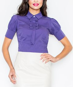 Look at this FIGL Indigo Tie-Neck Short-Sleeve Top on #zulily today!