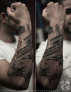 Forearm tattoo - Eiffel Tower. Nikos @ De L'art Ou Du Cochon