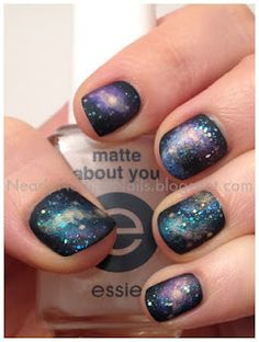GALAXY nails and a matte overcoat???? yes please