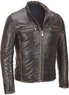 Men's leather jacket, Men brown distressed leather jacket