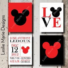 Mickey wall art set for a nursery Mickey Mouse Nursery, Disney Nursery, Disney Mickey Mouse, Disney Ears, Minnie Mouse, Baby Boy Room Decor, Baby Boy Rooms, Baby Room, Kids Room Wall Art