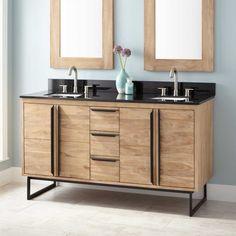 "60"" Cael Teak Double Vanity for Rectangular Undermount Sinks - Whitewash"