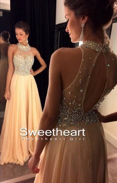 A-line beaded sequin champagne Long Prom Dresses,
