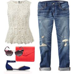 Summer outfit: Lace peplum top, boyfriend jeans, floral sunglasses, blue flats, red leather clutch.