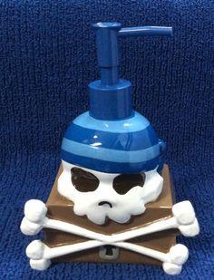 Pirate Bathroom Decor SKULL SOAP DISPENSER Crossbones Lotion Ship Kids Teen Set