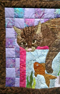 """adorable """"lizzy goes fishing"""" cat & fish quilt, made by grace bishop (plano, tx)"""