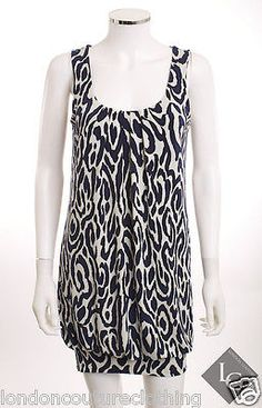 INC INTERNATIONAL CONCEPT SLEEVELESS ROUND NECK BLUE & CREAM BUBBLE DRESS SZ M
