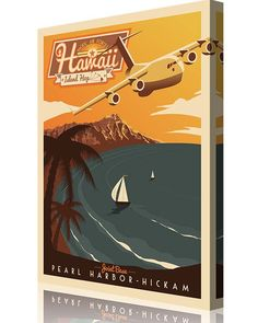 Share Squadron Posters for a 10% off coupon! Pearl Harbor-Hickam C-17 Retro Print #http://www.pinterest.com/squadronposters/