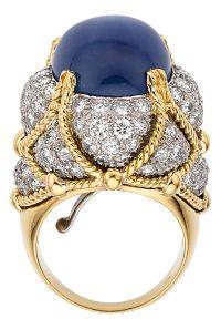 Estate Jewelry:Rings, Star Sapphire, Diamond, Gold, Platinum Ring, David Webb