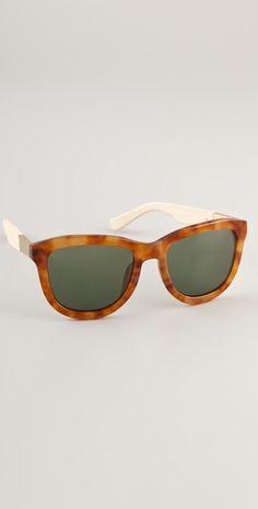 Linda Farrow for The Row. Tortoiseshell Leather Detail Sunglasses. $363