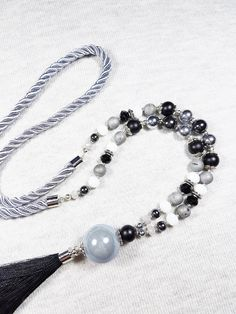 Grey tassel necklace, Long beaded necklace, Druzy agate necklace, Onyx necklace, Gemstone necklace, Black elegant necklace, Mothers day gift by GentleColorsJewelry on Etsy