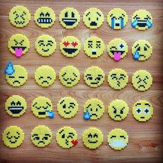Emojis perler beads by chittyqy.our daughter loves perler beads! Hama Beads Design, Diy Perler Beads, Perler Bead Art, Perler Bead Emoji, Diy Perler Bead Crafts, Hama Beads Coasters, Pearler Bead Patterns, Perler Patterns, Quilt Patterns