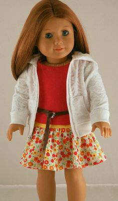 American Girl Doll Clothes - Lace Hoodie, Fuschia Tank, Knit Skirt, and Leather Belt