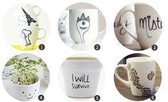 Regalos DIY: 18 diseños para decorar tazas de cerámica,  pineado por www.estrellasdeweb.blogspot.com