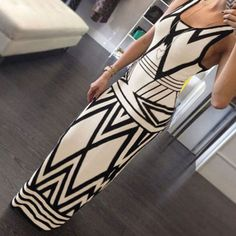 New-Women-Sexy-Pencil-Bodycon-Geometric-Pattern-Party-Cocktail-Long-Maxi-Dress