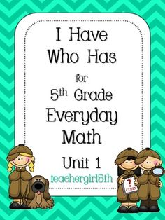 """This is the popular game """"I Have Who Has""""  that can be played by the whole class. This version is a fun, challenging, and comprehensive review of the skills taught in Unit 1 of the 5th Grade Everyday Math curriculum. This game contains 30 cards to help students review the following skills:~prime numbers~composite numbers~square numbers~square roots~rectangular arrays~square arrays~divisibility rules~place value~factors~the turn-around ruleGraphics are by thistlegirl.Feel free to contact me…"""