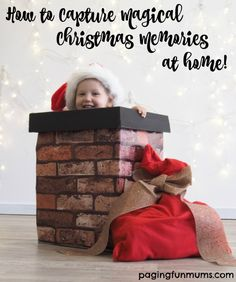 How to Capture Magical Christmas Memories at Home! I love this DIY Photo Prop Chimney!