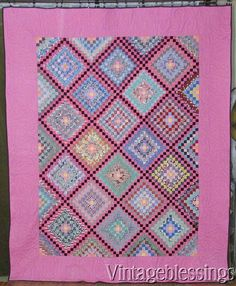 Notice the interesting rainbow colored block in the center. Primitive Quilts, Antique Quilts, Vintage Quilts, Postage Stamp Quilt, Postage Stamps, Quilts For Sale, Quilt Patterns, Pavement, Shabby