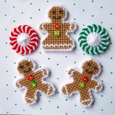 "Plastic Canvas: Christmas Sweets Magnets (set of 5) -- ""Ready, Set, Sew!"" by Evie"