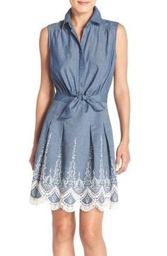ECI Embroidered Chambray Dress available at #Nordstrom