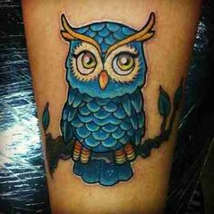 blue owl tattoo - cute