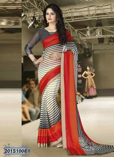 Ambitious Off White Coloured Georgette Printed Saree