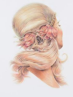 Skull and Hair Artwork by Winnie Truong