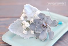 Wedding DIY Succulent boutonniere - all you have to do is wire the succulent to make it fit http://www.storymixmedia.com/weddingmix/blog/2014/07/wedding-diy-projects/