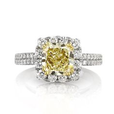 3.39ct Fancy Yellow Cushion Cut Diamond Engagement by MarkBroumand