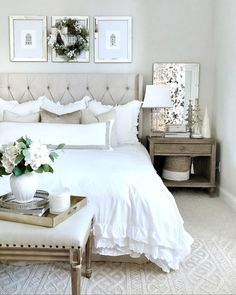 Home Interior Inspiration .Home Interior Inspiration Room Ideas Bedroom, Home Decor Bedroom, Bedroom Art, Dream Rooms, Dream Bedroom, Upholstered Dining Bench, Master Bedroom Design, Chic Master Bedroom, Luxurious Bedrooms