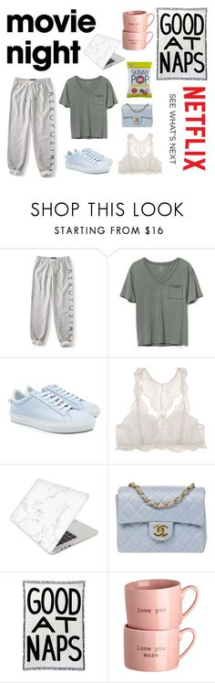"""""""movie nights; netflix and snacks"""" by mia1995fashionlover ❤ liked on Polyvore featuring Aéropostale, Gap, Givenchy, Eberjey, Recover, Chanel, Calhoun & Co. and Identity"""