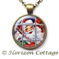 Merry Christmas Santa Through a Window  Vintage by HorizonCottage