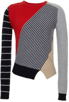 Carven Color-Blocked Wool-Blend Knit Sweater on shopstyle.com