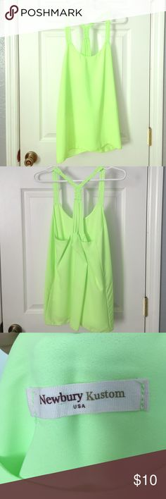 Lime Green Tank 🍀 NWOT Lime green tank! Purchased off of the online boutique Shop Hopes! Lined, and can be worn with a bralette or bandeau! Newbury Kustom Tops Tank Tops