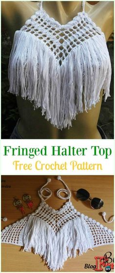 Crochet Fringed Crop Top Free Pattern Video- Summer Halter Free Patterns Source by clothes patterns Crochet Diy, Crochet Fringe, Crochet Shirt, Crochet Vests, Crochet Ideas, Crochet Summer Tops, Crochet Halter Tops, Crochet Crop Top, Diy Fashion Tops