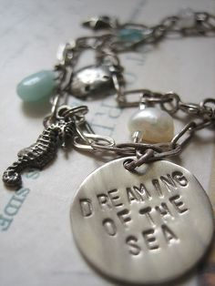 Dreaming of the Sea Necklace,  Hand stamped Jewelry by hazelnutcottage, via Flickr