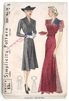 40s Day or Evening Dress w Tucked Bodice. Simplicity Sewing Pattern 2859.