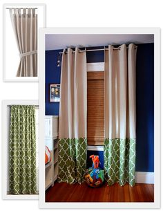 adding fabric on to bottom of inexpensive curtains - love this idea to make panels longer  I already have navy ones. I could do a fun coral print on the bottom!