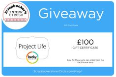 So exciting! Enter to win a 100 GBP voucher good for a shopping spree at the Project Life UK/Europe shop! Go to my blog for details of this amazing treat:) * Open to all who can order from the UK/Europe shop. Entries close May 5 , 8 am CET